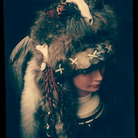 Feather Headdress Skull Headdress Pagan Headdress Fur Headdress Tribal Warrior Headdress Ritual Festival Clothing OOAK Wiccan Headress