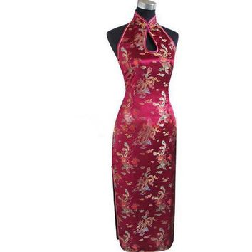 Black, Blue, Red, Gold, Floral Halter Long Cheongsam One-piece Chinese Qipao Dress