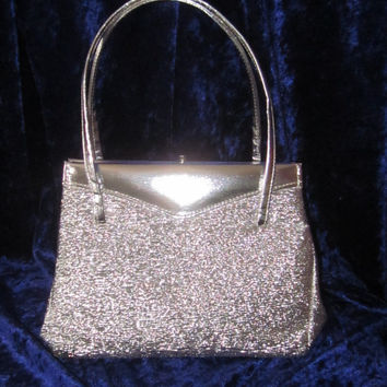 Beautiful 1960s Silver Lurex EVENING BAG With Matching Coin Purse. Elbief Frame. Made in England. Superb Condition.