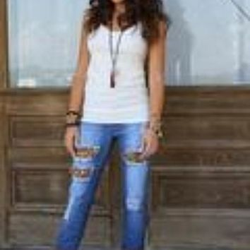 Lucky and Bless Brown Leopard Jeans