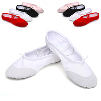 According The CM To Buy,Canvas Flat Slippers White Pink White Black Ballet Shoes For Girls Children Woman Yoga Gym Free Shipping