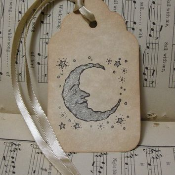 SILVERY MOON - with silver stars, vintage style, shabby chic style, ephemera, bookmark tag, celestial, children's, baby shower - set of 6
