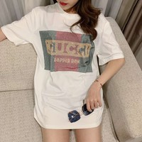 """ Gucci"" Woman Casual  Wild Fashion Letter Sequin Printing Loose Large Size Short Sleeve T-Shirt Tops"
