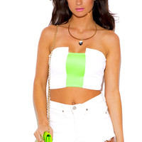 WHITE NEON GREEN STRIPE COLOR BLOCK STRAPLESS CROP BANDEAU TUBE TOP