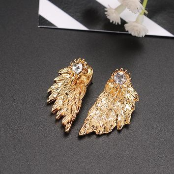 X&P Luxury Fashion Stud Earrings for Women Girl Fine Vintage Gothic Angel Wing Gold Black Silver Feather Earring Jewelry Gift