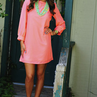 Color Chaos Shift Dress: Neon Peach | Hope's