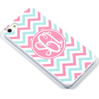 Monogram iPhone Samsung Case - 5, 4 Galaxy s2 s3 s4 note, Ipod Touch 4, 5, Blackberry - Chevron - mint pink - 0002