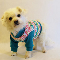 RockinDogs Teal Chevron Knit Dog Shirt