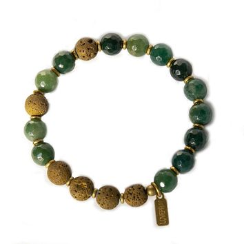 Moss Agate Essential Oil Diffuser Bracelet, Aromatherapy Bracelet