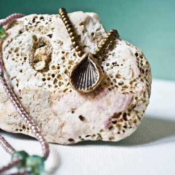 BOHO LAYERED NECKLACE - Seashell Jewelry - Extra Long Beaded Necklace - Pale Rose and Sea Foam Green - Hand Cast Beach Charm