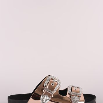 Patent Studded Etched Buckled Double Band Footbed Sandal