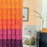 Dainty Home Flamenco Tiered Fabric Shower Curtain, 72 by 72-Inch, Orange/Mahagony