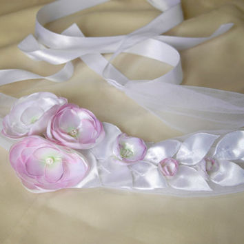 Wedding flower sash hand painted, blush bridal sash, bridal gown sash, flower belt, flower sash belt, dress sash, bridal gown belt