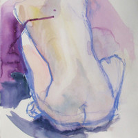 Violet Nude  original watercolor by May Hiddleston