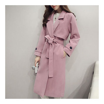 Slim Coat Middle Long Woman Fashionable   pink   S