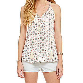 Moa Moa Tassel-Tie Printed Top - White/Coral