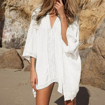 2017 Beach Cotton Cover-Ups V-neck Tunic Sarong Bathing Suit Coverups Bikini Cover Up Women Swimsuit Beachwear 02-0186