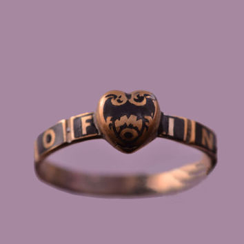 Victorian Memorium Heart Ring With Black Enamel (220b)