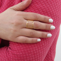 Dramatic Gold Adjustable Ring, Fashion Jewelry, Unique Handmade Jewelry Design, Gifts for Her, Perfect Jewelry for Summer