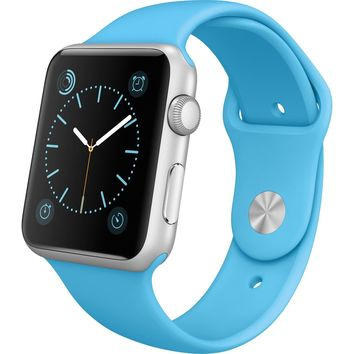 Apple Watch Series 2 42mm Silver Aluminum Case Blue Sports Band GPS