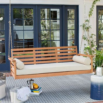 Deep Seat Wood Porch Swing Outdoor Bed with Cushion and 2 Bolster Pillows