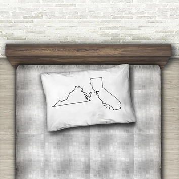 Two States Custom Pillow Case, Long Distance Gift, Standard Pillow Case, Dorm Decor, Dorm Room Decor, Personalized Black + White Decor