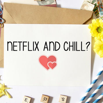 Funny Boyfriend Card, Netflix And Chill, Valentine's Day, Anniversary, For Him