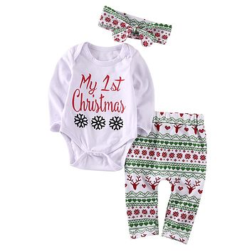 Christmas Newborn Baby Girl Long Sleeve Tops +Long Pants Headband 3PCS Outfits Set Clothes Children Xmas Clothing