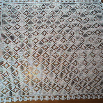 White Crochet Doily or Table Runner Rectangular Doily White Color Doily White Triangular Lacy Design Doily