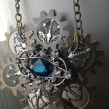 Gear Steampunk Necklace, Blue Gothic Statement Necklace, Vintage Inspired Blue Statement Necklace, Blue Jeweled Necklace, Steampunk Pendant