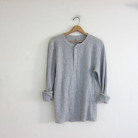 vintage gray long sleeve long underwear henley top. grunge look shirt / men's size L