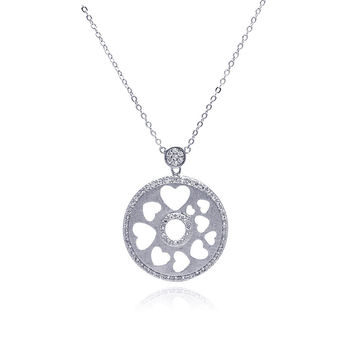 Rhodium Plated Brass Open Heart Disc Clear Cubic Zirconia Pendant Necklace: SOD
