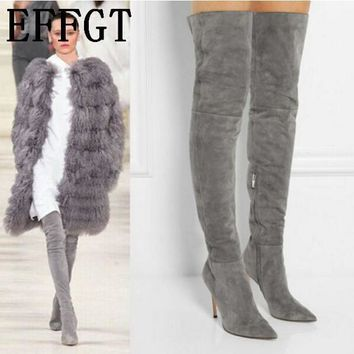 EFFGT 2017 NEW Women boots Stretch Real Suede Slim Thigh High Boots Sexy Fashion Over