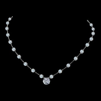 "Diamond Veneer Centered 2.5 Ct Round Cut On Zirconite Cubic Zirconia By The Cubic Inch Necklace Rhodium Electroplate. 16"" + 2"" Extension Bzbyx30rd"