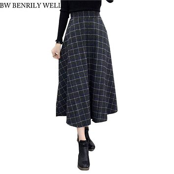 Woolen Plaid Skirt Women 2017 Thick New Winter Long Vintage High Waist Skirts Female Casual Warm Saia Maxi British Style Skirts