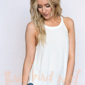 the Starling High Neck Tank In White