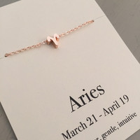 Zodiac necklace, rose gold necklace, birthday gift, Aries necklace, Taurus necklace, star sign necklace, astrology gift, Horoscope necklace