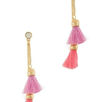 FIRENZE FRINGE TASSEL EARRINGS - PINK