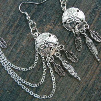 dreamcatcher sand dollar chained ear cuff SET
