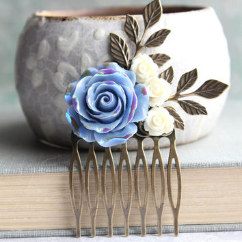 Periwinkle Rose Comb Bridal Hair Comb Bridal Hair Piece Something Blue Iredescent Shimmer Floral Beach Wedding Bridesmaids Gift