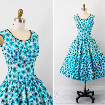 vintage 1950s 50s dress // Blue White and Black by RococoVintage