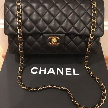 Authentic 2016 Chanel Classic Flap Bag Medium Black Lambskin Gold HW Receipt