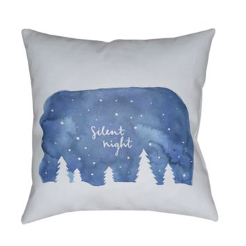 Silent Night Holiday Pillow ~ Blue