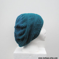Dark Teal Crochet two tone Slouch Hat, ready to ship.