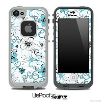 The Abstract Blue & Black Seamless Flowers Skin for the iPhone 5 or 4/4s LifeProof Case