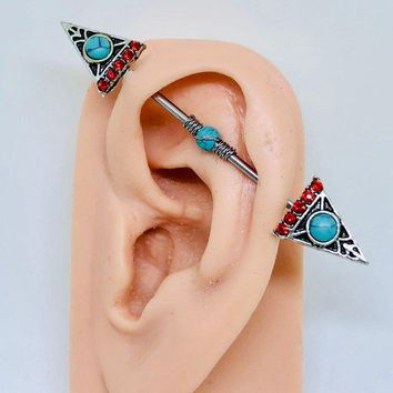 Native American Arrow head turquoise wire wrapped Industrial/Scaffold barbell 14 gauge stainless steel body jewelry