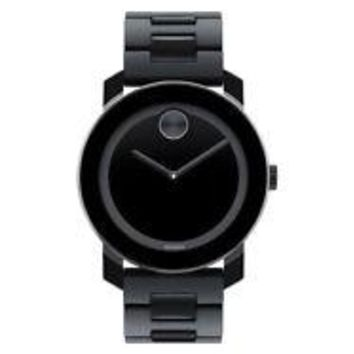 MOVADO BOLD 3600047 Large All Black TR90 Stainless Steel Sunray Dot 42mm Watch