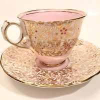 Royal Stafford Pink and Gold Flower Teacup, Vintage Fine Bone China Teacup and Saucer Set, Pink and Gold Teacup