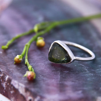 Green tourmaline slice ring in sterling silver - solitaire ring, bezel set rough, dark green watermelon tourmaline