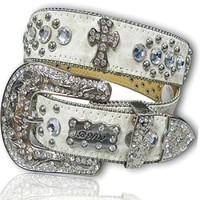 Rhinestone Cross Western Bone Wash Leather Belt XL: Rhinestone belts, rhinestone jewelry, western purses and more - Western Cowgirl